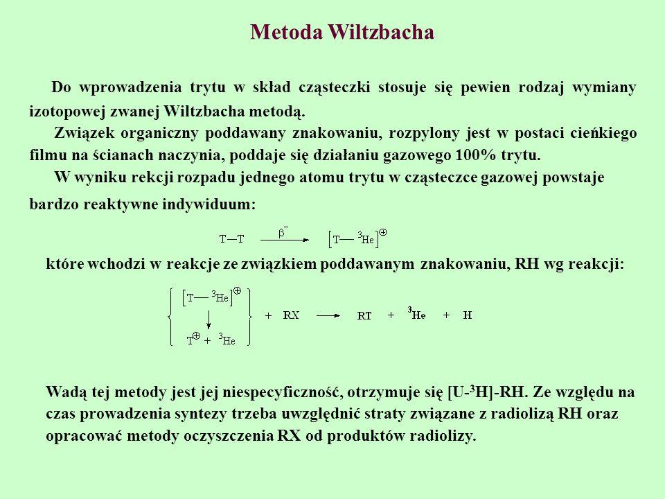 Metoda Wiltzbacha Do wprowadzenia trytu w skład cząsteczki stosuje się pewien rodzaj wymiany izotopowej zwanej Wiltzbacha metodą.