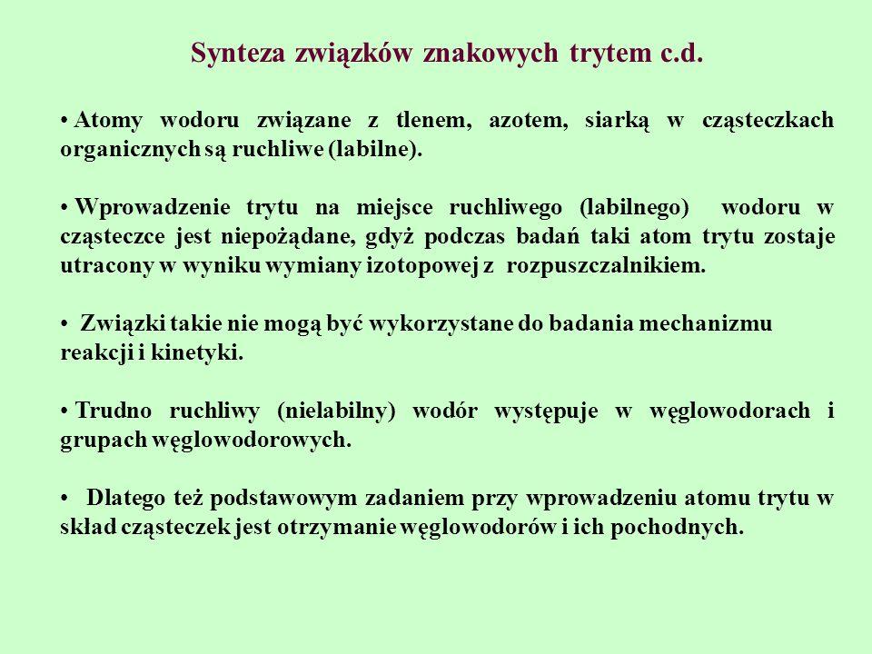Synteza związków znakowych trytem c.d.