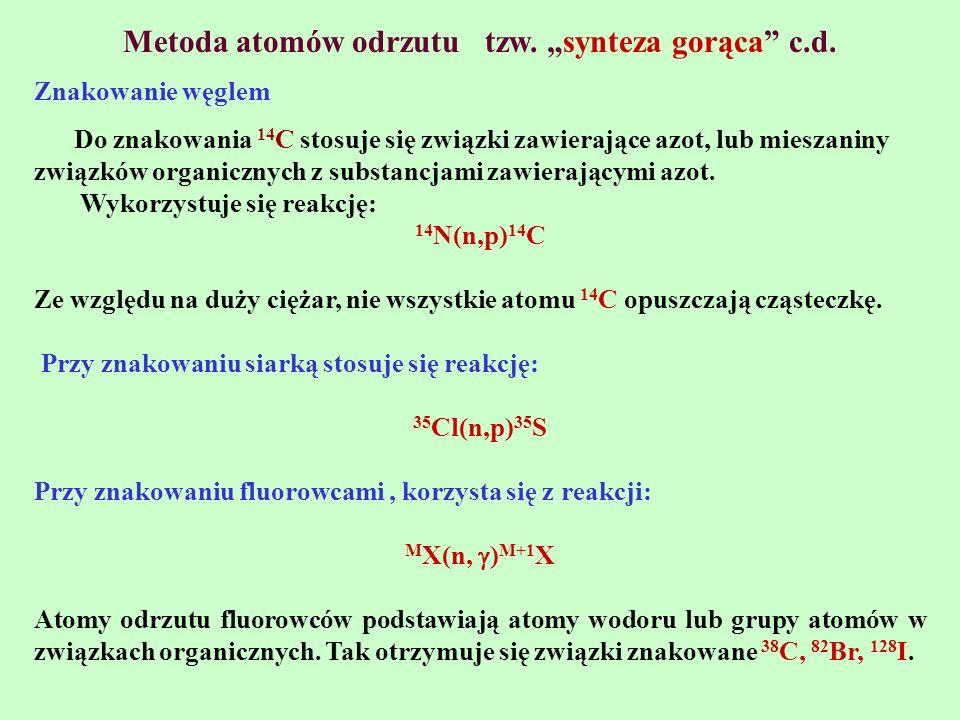 """Metoda atomów odrzutu tzw. """"synteza gorąca c.d."""