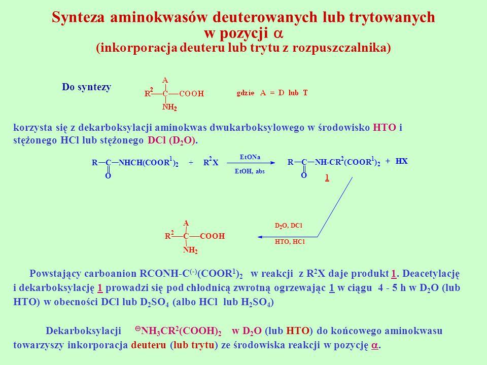 Synteza aminokwasów deuterowanych lub trytowanych w pozycji  (inkorporacja deuteru lub trytu z rozpuszczalnika)