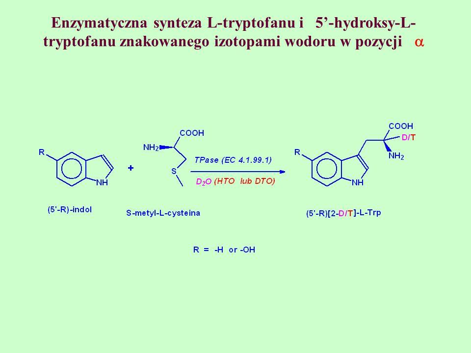 Enzymatyczna synteza L-tryptofanu i 5'-hydroksy-L-tryptofanu znakowanego izotopami wodoru w pozycji 
