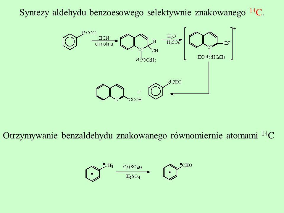 Syntezy aldehydu benzoesowego selektywnie znakowanego 14C.