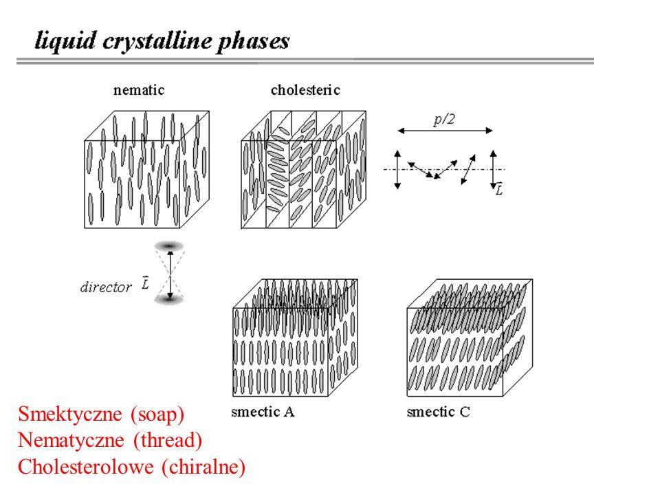 Smektyczne (soap) Nematyczne (thread) Cholesterolowe (chiralne)