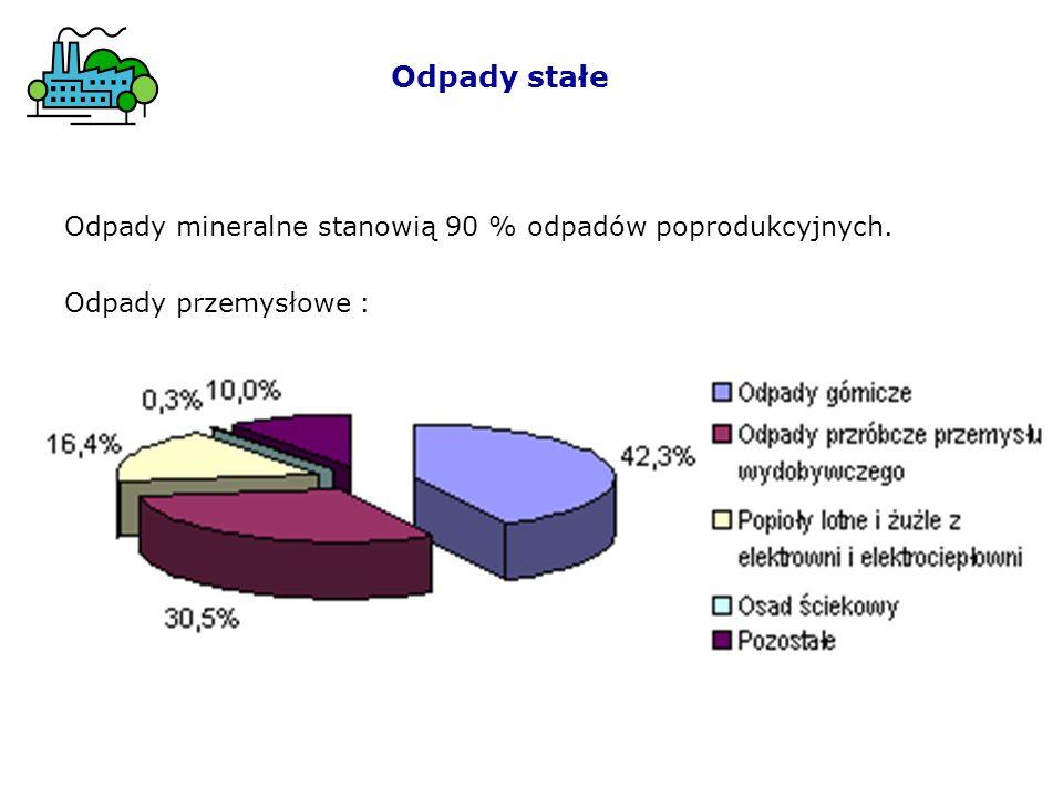 Odpady stałe Odpady mineralne stanowią 90 % odpadów poprodukcyjnych.