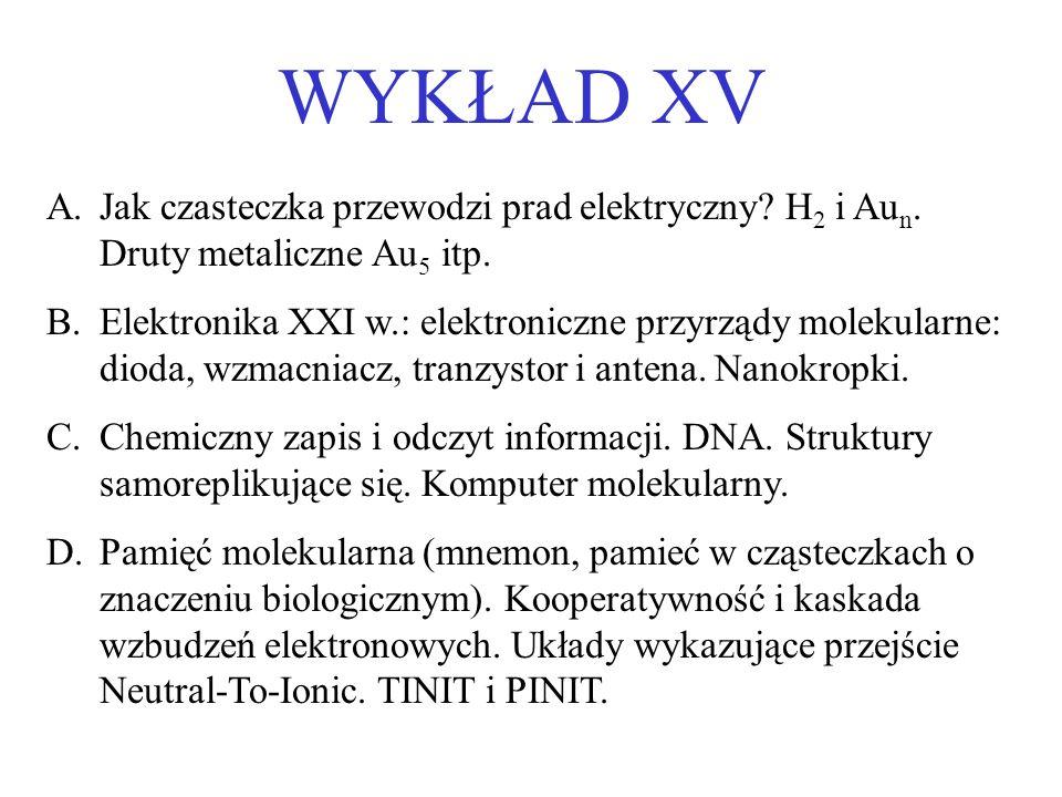 WYKŁAD XV Jak czasteczka przewodzi prad elektryczny H2 i Aun. Druty metaliczne Au5 itp.