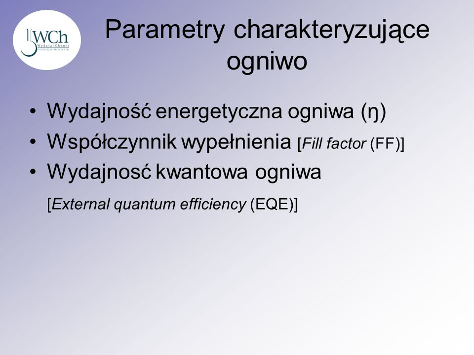 Parametry charakteryzujące ogniwo