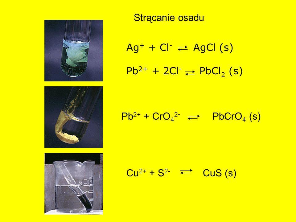 Strącanie osadu Ag+ + Cl- AgCl (s) Pb2+ + 2Cl- PbCl2 (s) Pb2+ + CrO42- PbCrO4 (s)