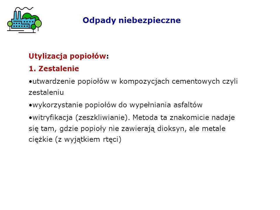 Odpady niebezpieczne Utylizacja popiołów: 1. Zestalenie