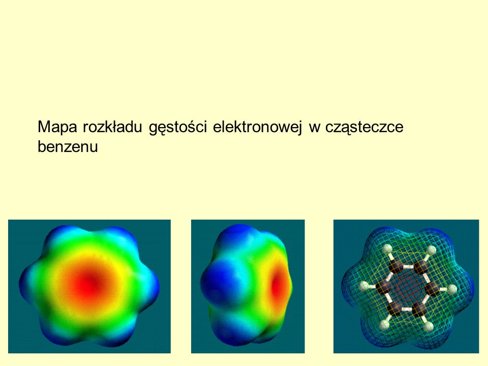 Mapa rozkładu gęstości elektronowej w cząsteczce benzenu