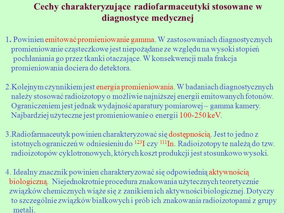 Cechy charakteryzujące radiofarmaceutyki stosowane w diagnostyce medycznej