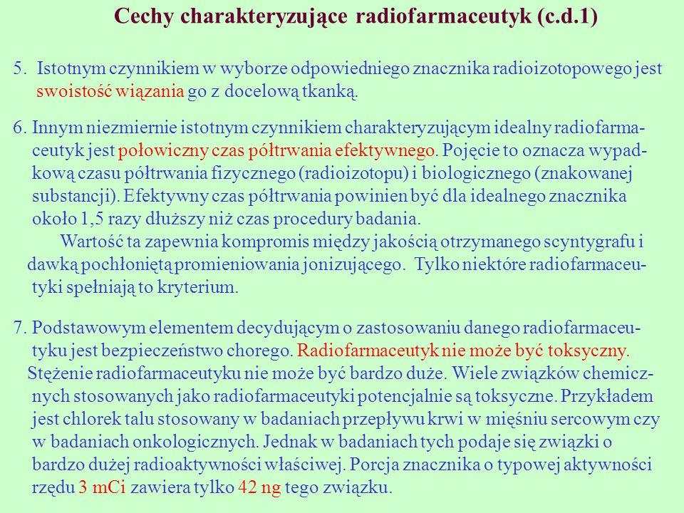 Cechy charakteryzujące radiofarmaceutyk (c.d.1)