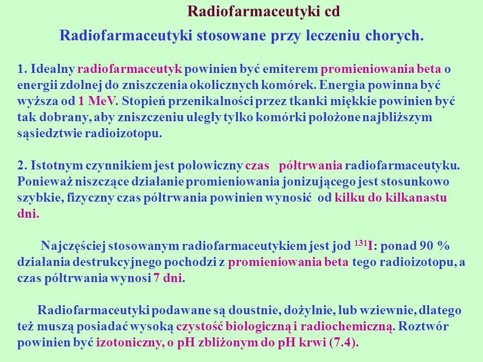 Radiofarmaceutyki stosowane przy leczeniu chorych.
