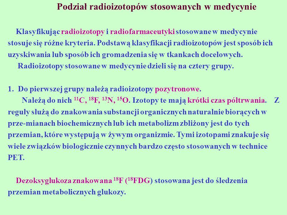 Podział radioizotopów stosowanych w medycynie