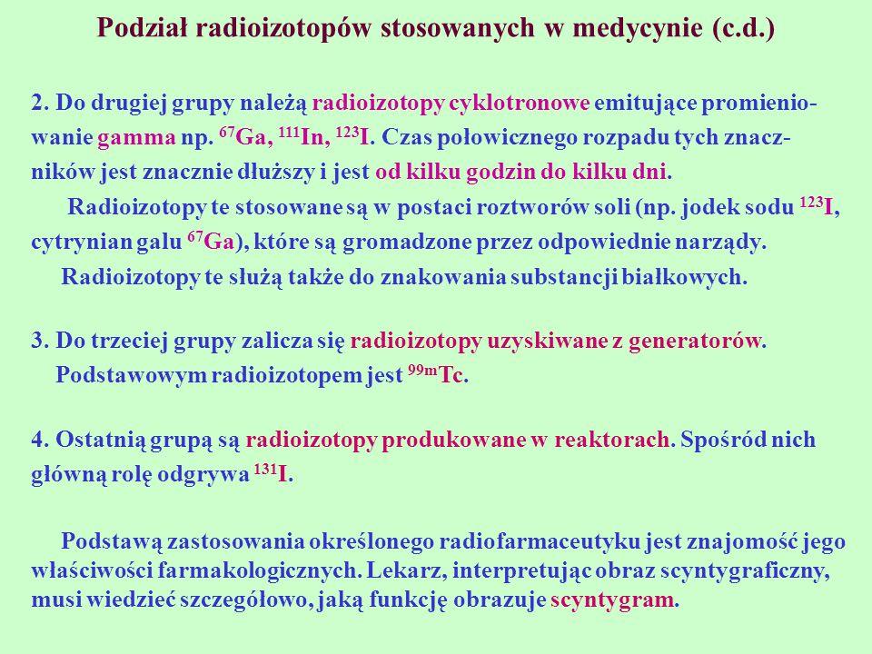 Podział radioizotopów stosowanych w medycynie (c.d.)