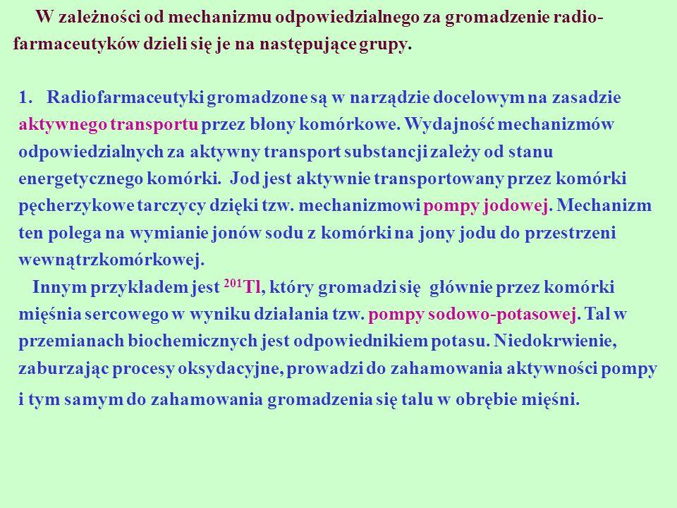 W zależności od mechanizmu odpowiedzialnego za gromadzenie radio-farmaceutyków dzieli się je na następujące grupy.
