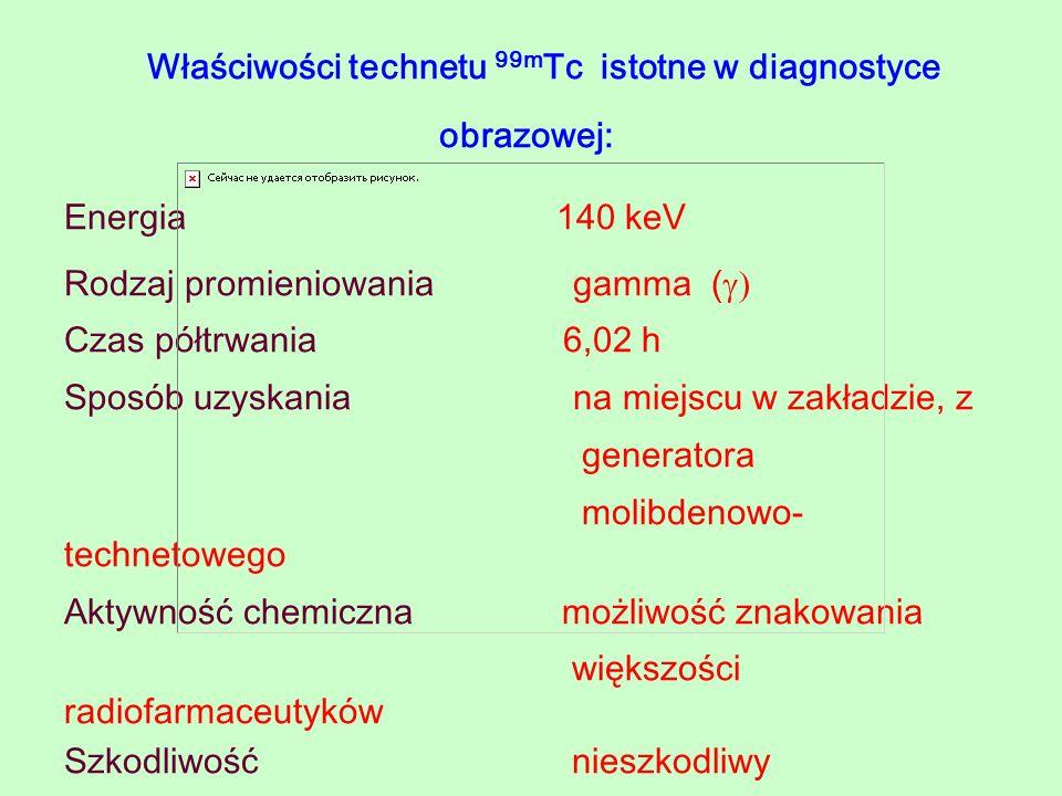 Właściwości technetu 99mTc istotne w diagnostyce obrazowej: