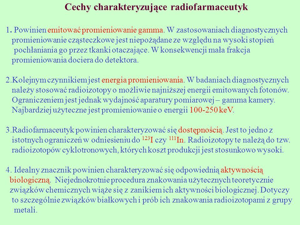 Cechy charakteryzujące radiofarmaceutyk