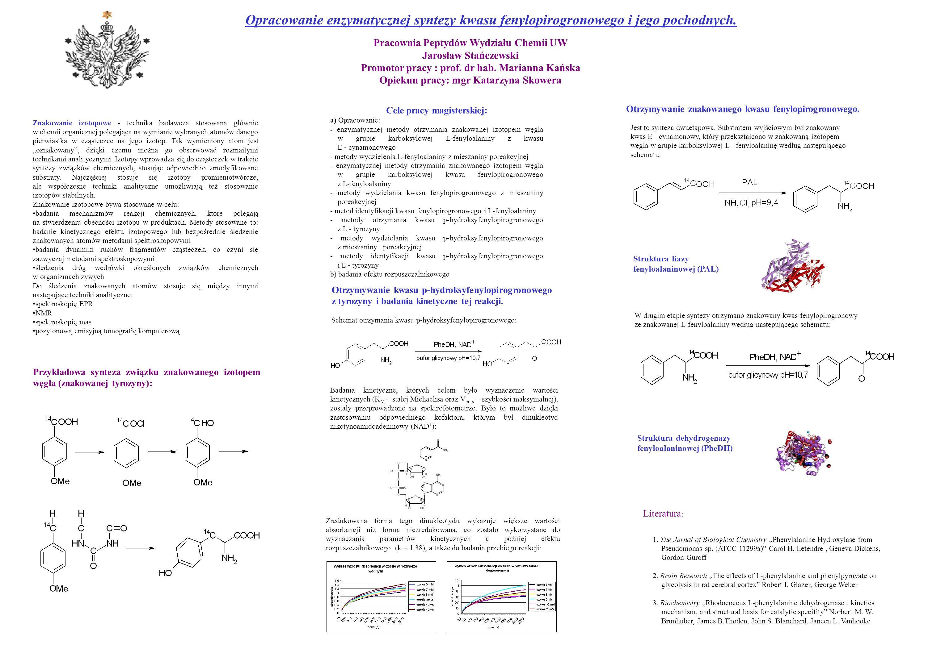 Opracowanie enzymatycznej syntezy kwasu fenylopirogronowego i jego pochodnych.