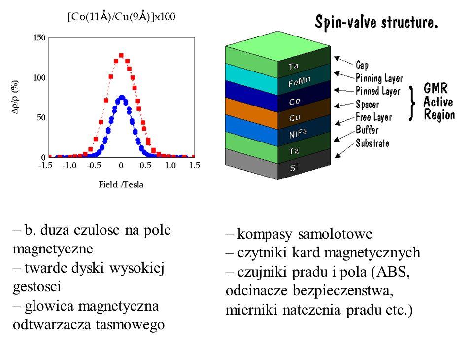 – b. duza czulosc na pole magnetyczne
