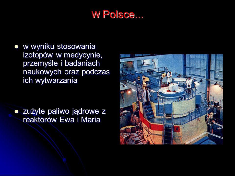 W Polsce… w wyniku stosowania izotopów w medycynie, przemyśle i badaniach naukowych oraz podczas ich wytwarzania.