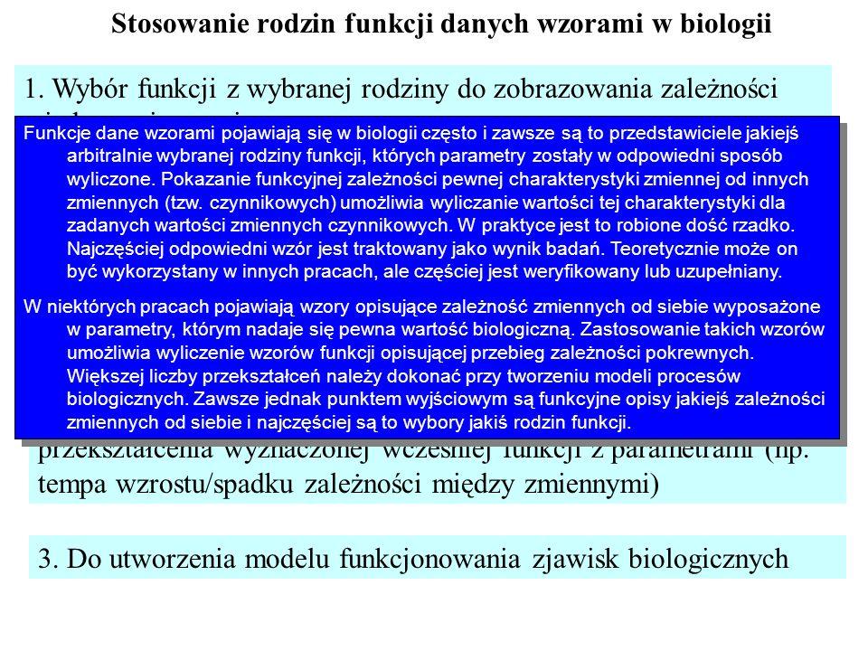 Stosowanie rodzin funkcji danych wzorami w biologii