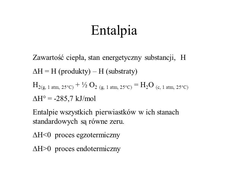 Entalpia Zawartość ciepła, stan energetyczny substancji, H
