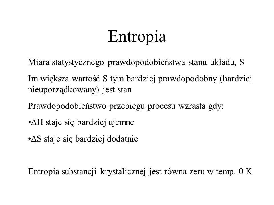 Entropia Miara statystycznego prawdopodobieństwa stanu układu, S