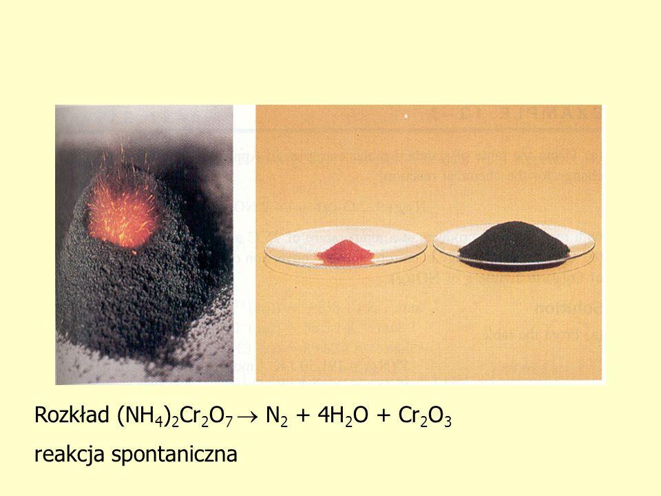 Rozkład (NH4)2Cr2O7  N2 + 4H2O + Cr2O3