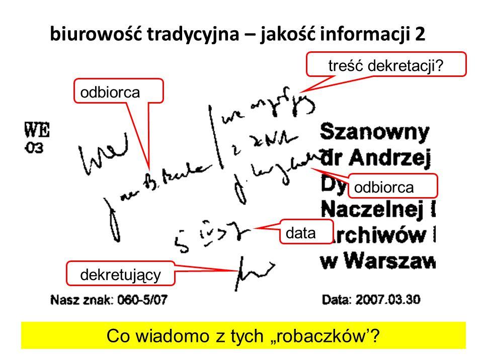 biurowość tradycyjna – jakość informacji 2