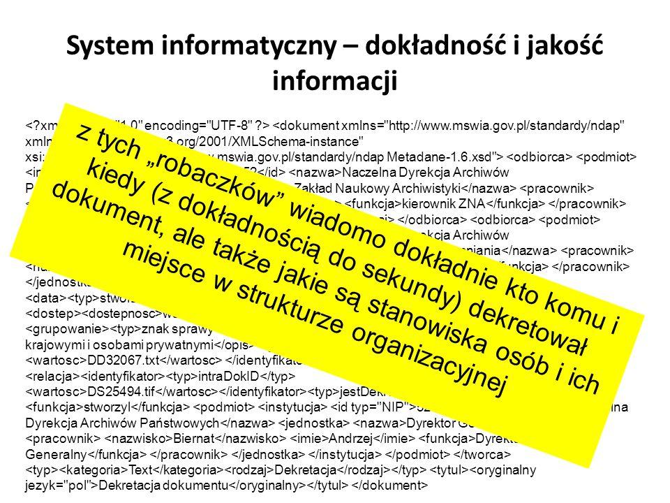 System informatyczny – dokładność i jakość informacji
