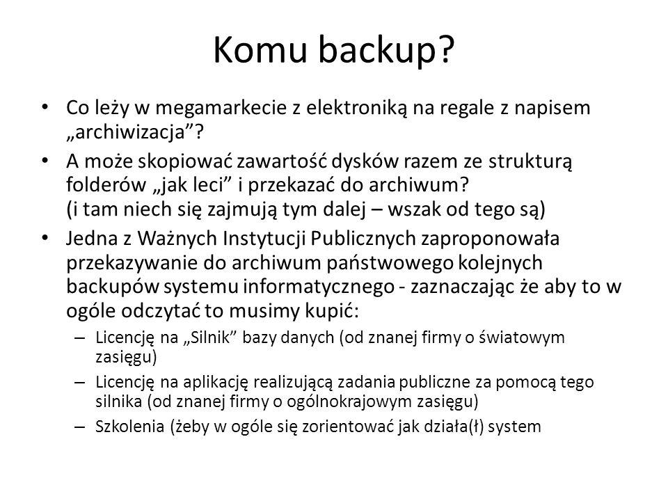 "Komu backup Co leży w megamarkecie z elektroniką na regale z napisem ""archiwizacja"