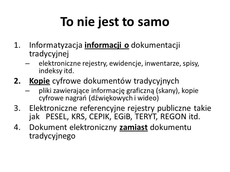 To nie jest to samo Informatyzacja informacji o dokumentacji tradycyjnej. elektroniczne rejestry, ewidencje, inwentarze, spisy, indeksy itd.