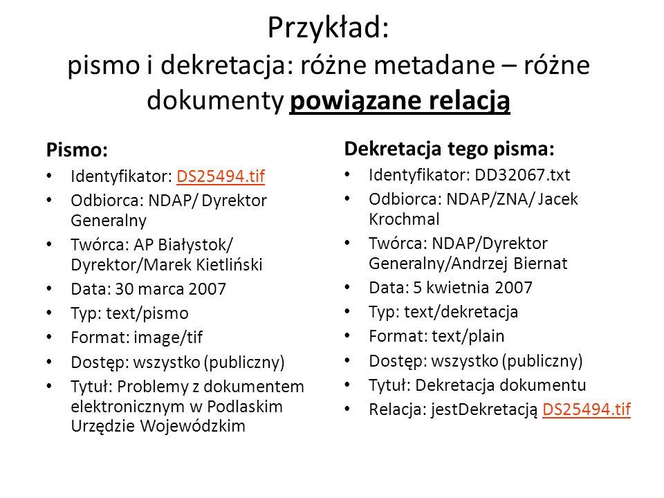 Przykład: pismo i dekretacja: różne metadane – różne dokumenty powiązane relacją