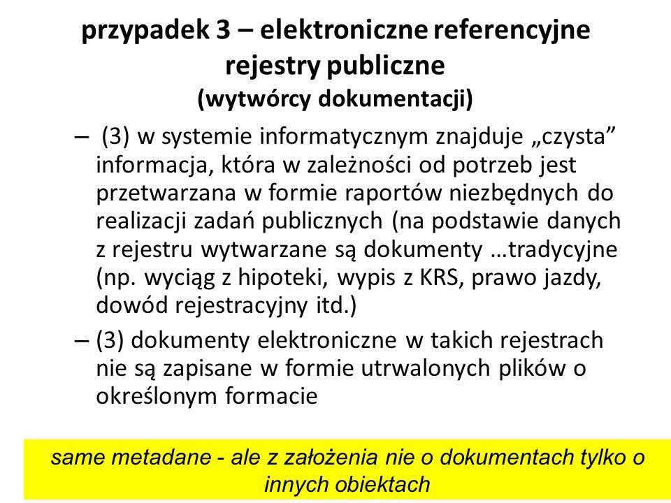 przypadek 3 – elektroniczne referencyjne rejestry publiczne (wytwórcy dokumentacji)