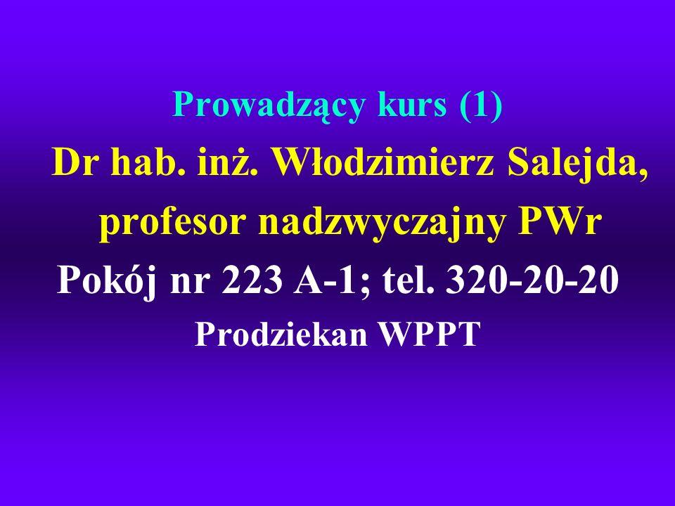 Dr hab. inż. Włodzimierz Salejda, profesor nadzwyczajny PWr