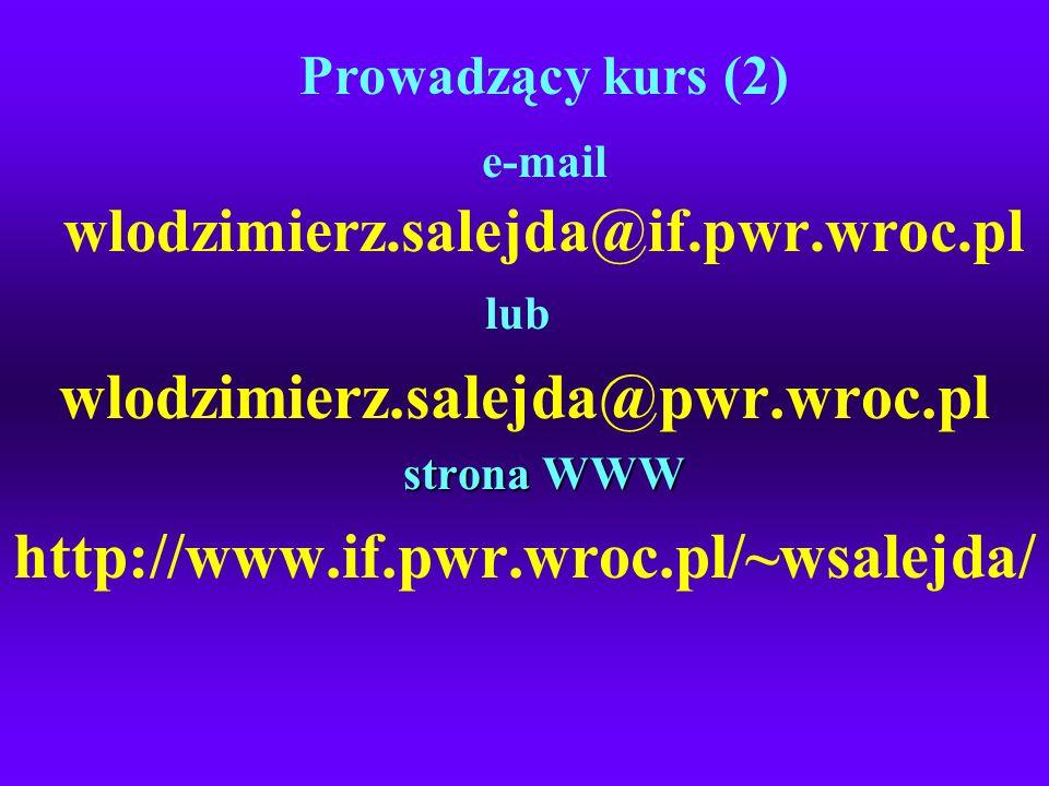 e-mail wlodzimierz.salejda@if.pwr.wroc.pl