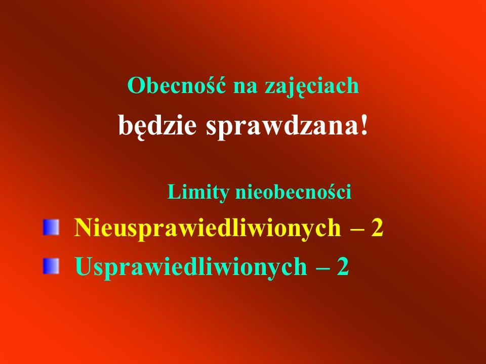 będzie sprawdzana! Nieusprawiedliwionych – 2 Usprawiedliwionych – 2