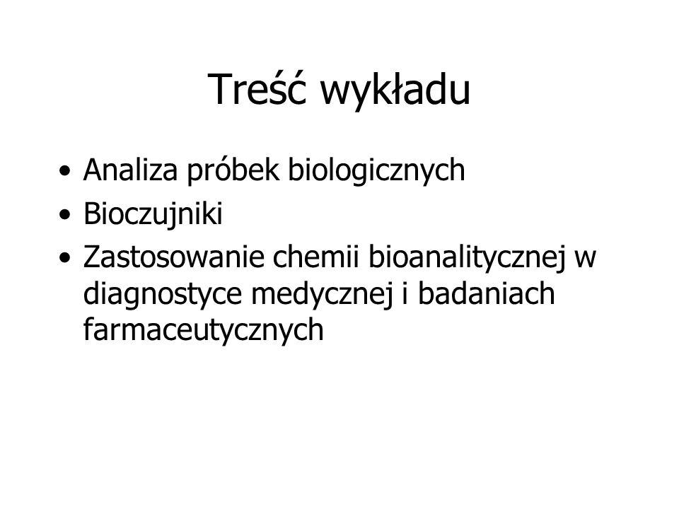 Treść wykładu Analiza próbek biologicznych Bioczujniki