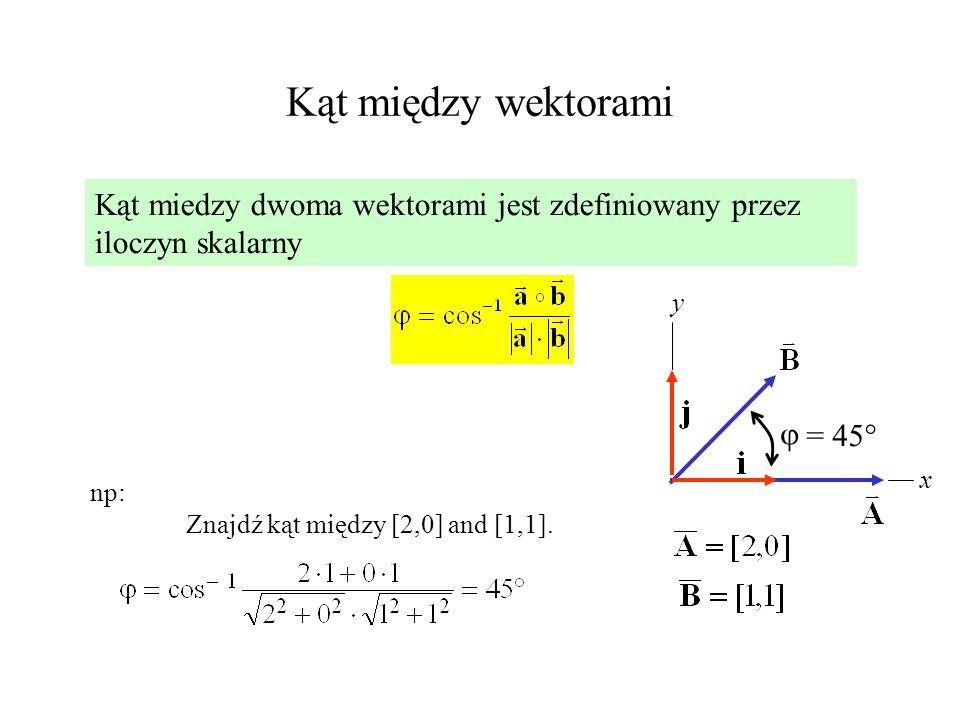 Kąt między wektorami Kąt miedzy dwoma wektorami jest zdefiniowany przez iloczyn skalarny. y.  = 45