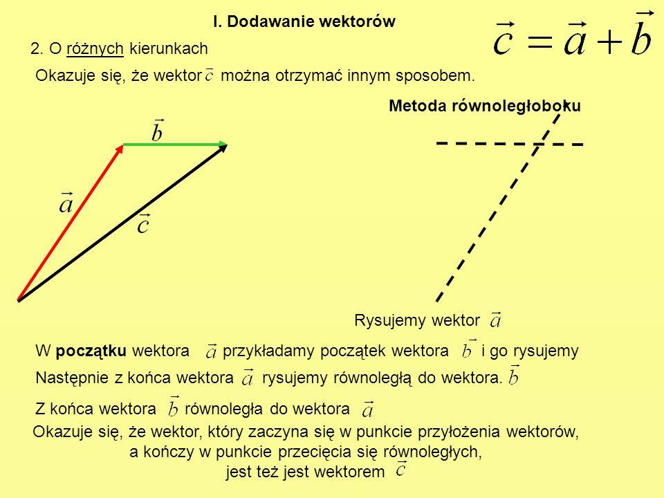 I. Dodawanie wektorów2. O różnych kierunkach. Okazuje się, że wektor można otrzymać innym sposobem.