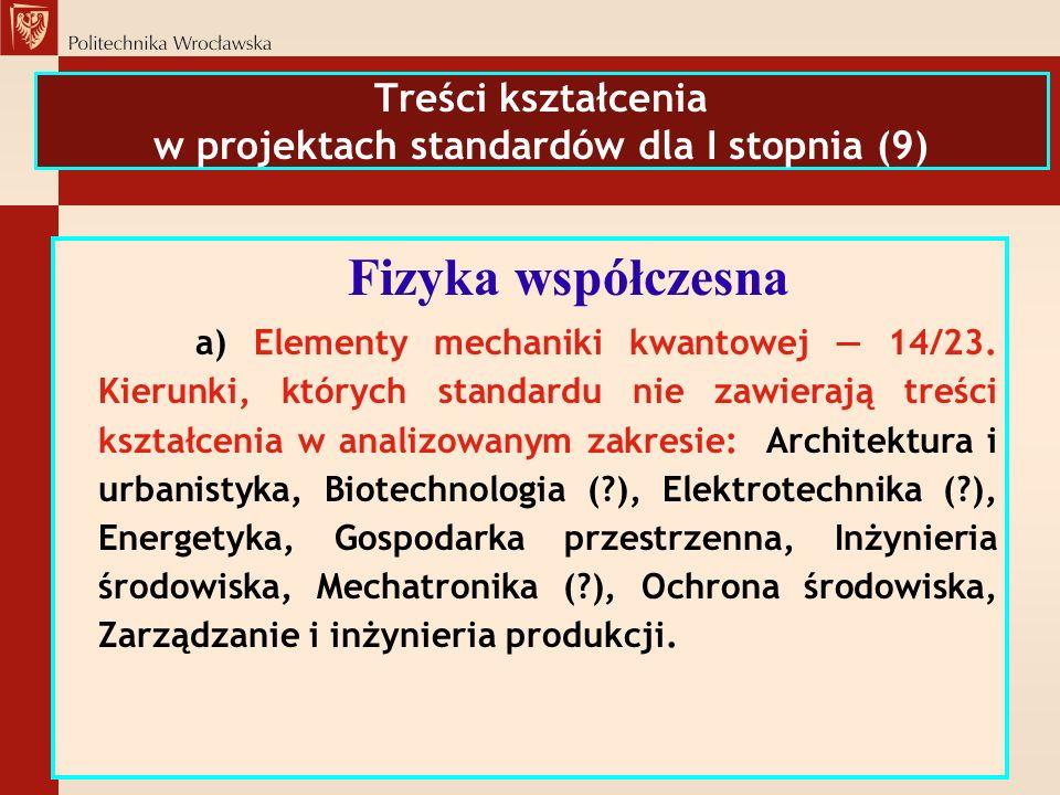 Treści kształcenia w projektach standardów dla I stopnia (9)
