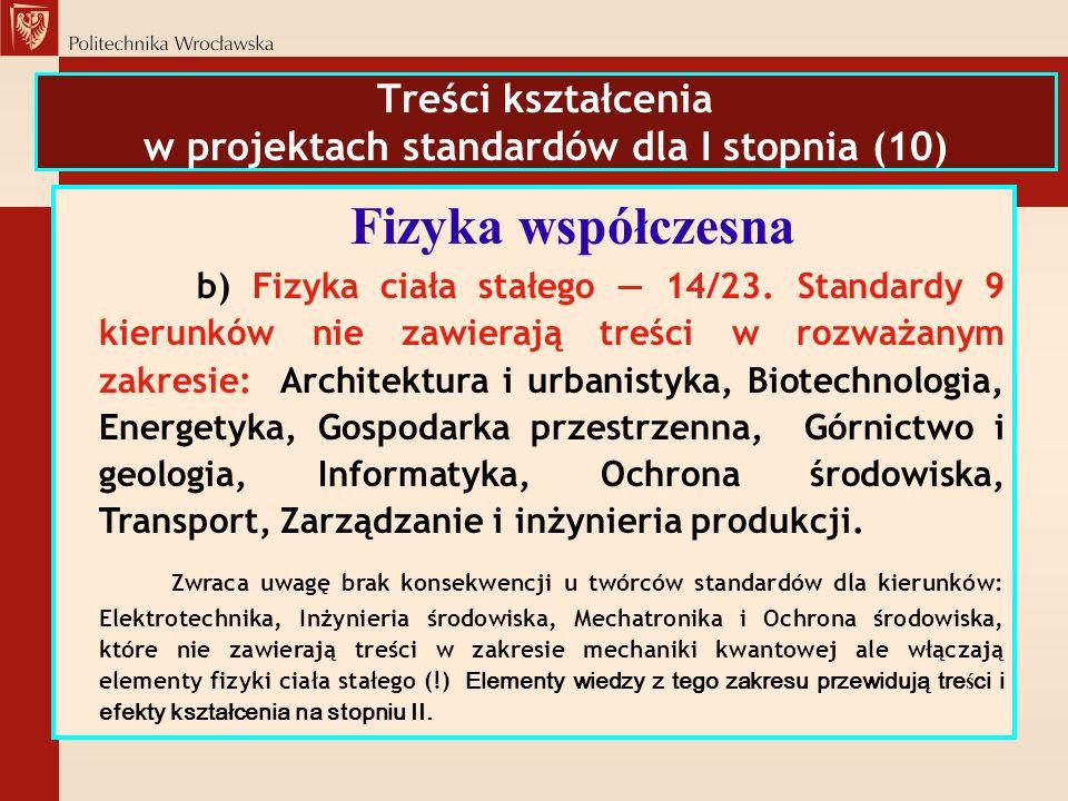 Treści kształcenia w projektach standardów dla I stopnia (10)