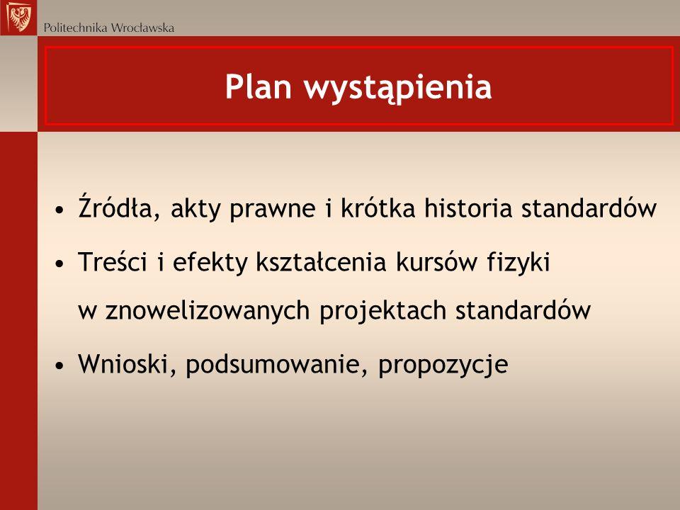 Plan wystąpienia Źródła, akty prawne i krótka historia standardów