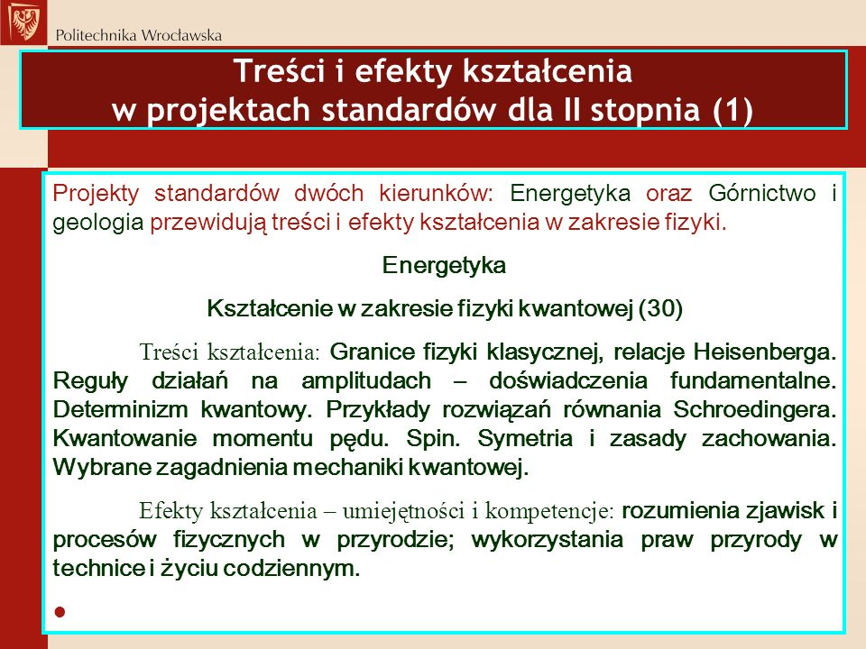 Treści i efekty kształcenia w projektach standardów dla II stopnia (1)