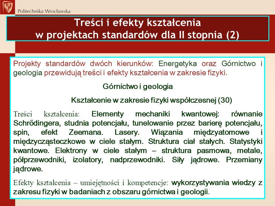 Treści i efekty kształcenia w projektach standardów dla II stopnia (2)