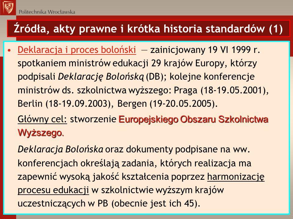 Źródła, akty prawne i krótka historia standardów (1)