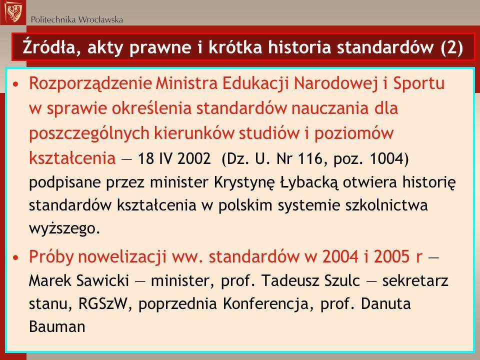 Źródła, akty prawne i krótka historia standardów (2)