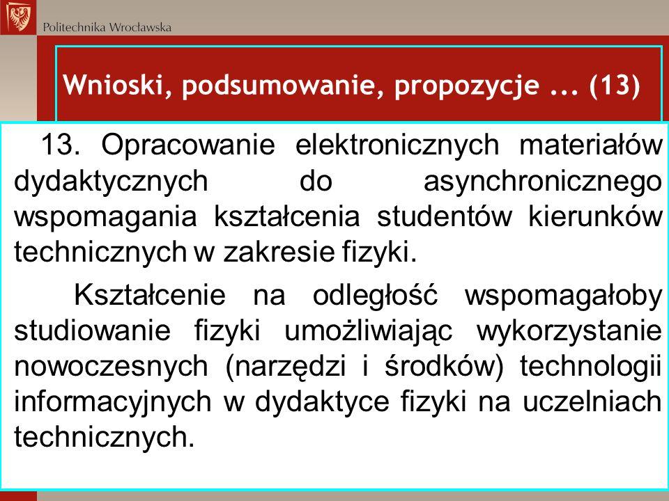 Wnioski, podsumowanie, propozycje ... (13)
