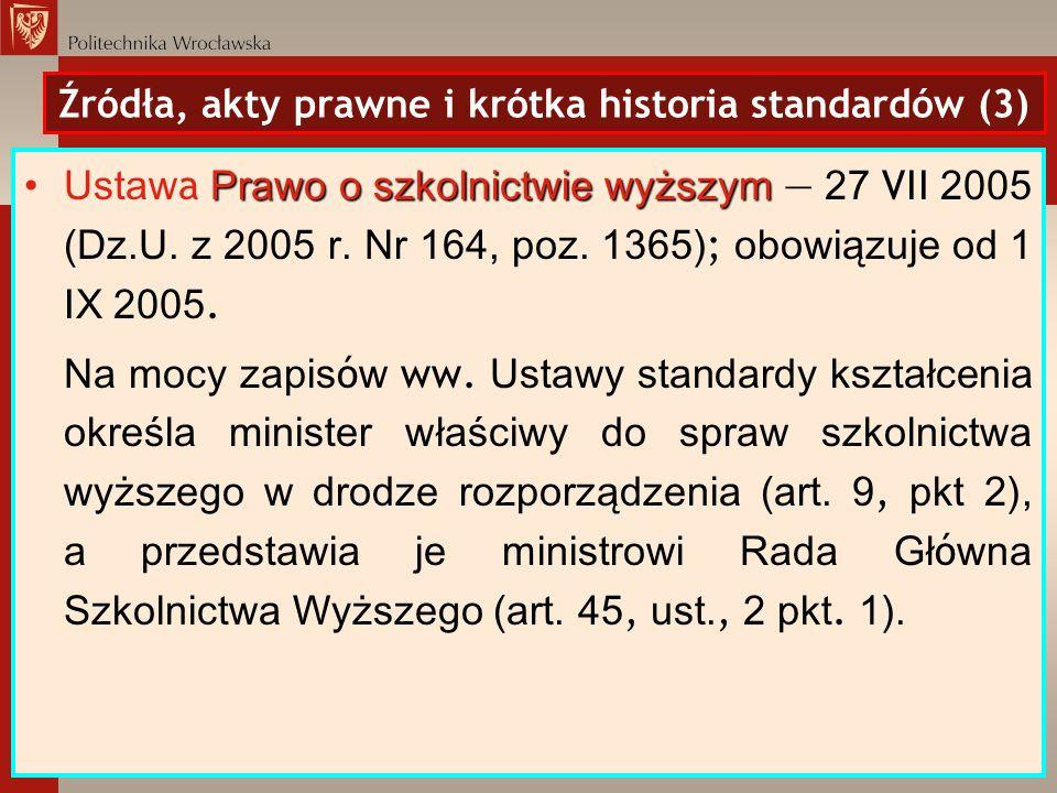 Źródła, akty prawne i krótka historia standardów (3)