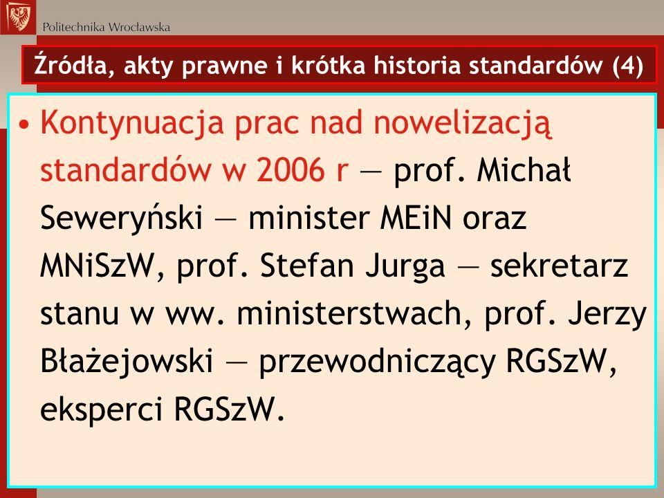 Źródła, akty prawne i krótka historia standardów (4)